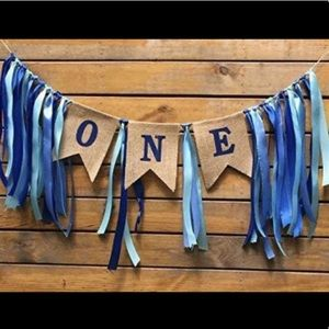 Birthday Bunting One Year Old Party Decor
